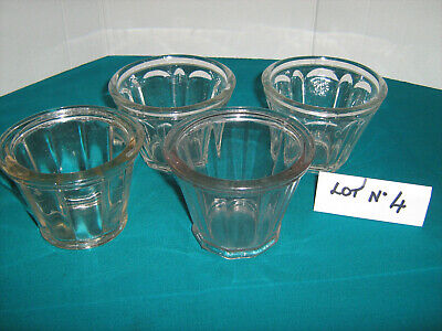 Lot De 4 Anciens Pots A Confiture En Verre Epais Lot N°4