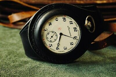 Vintage 100% Leather 50mm STRAP For pocket Watch Black Antique WW1 without watch