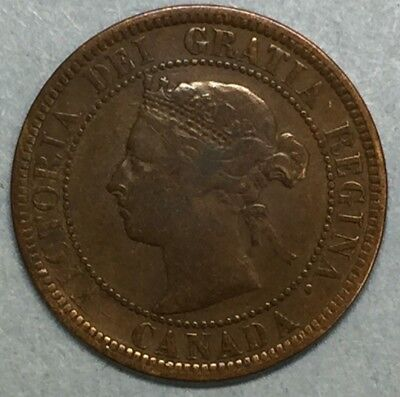 1888 Canada One Cent Large Cent Penny Copper Coin #SS776