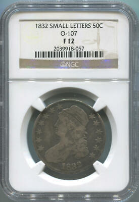 1832 Capped Bust Silver Half Dollar. O-107. NGC F12