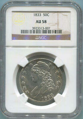 1833 Capped Bust Half Dollar, 50C Silver. NGC AU58