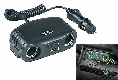 Ring Twin 12v 8 Amp Car Multisocket with USB Charging Cigarette Socket RMS7