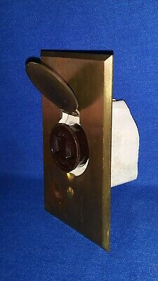 VTG GE CAT. 36817 Porcelain Socket & Screw Plug W/Brass Latch Receptacle Plate
