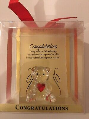 NEW ENGRAVED GLASS CRYSTAL BEAR GIFT ORNAMENT SET POEM POETIC Congratulations