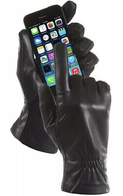 ISOTONER Women Stretch Genuine Leather SmarTouch Fleece Lined Gloves,BLACK L/XL