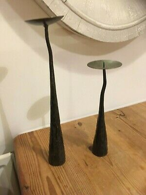 PAIR black iron heavy Candle Stick Holder tree bark wood effect metal forge art