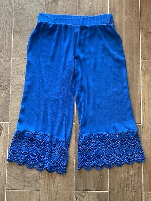 Matilda Jane Ruffle Crop Pants Royal Blue Crochet Size S Small Womens