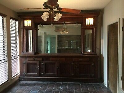 Antique Back Bar,Original Mirror ,Stain Glass, Zinc Lined Ice Box Brass Hardware