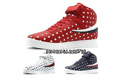 New Men's Fila Vulc 13 Mid Plus Big Star Red White Or Blue High Top Sneakers