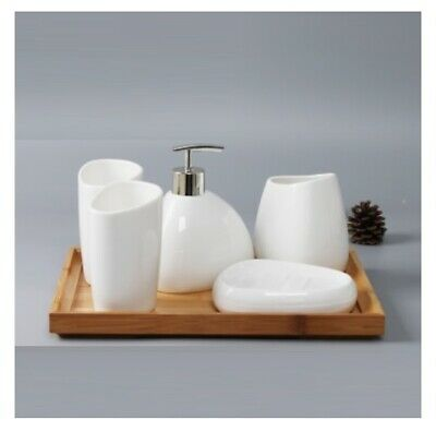 China Ceramics Bathroom Accessories Set Soap Dispenser Toothbrush Holder Tumbler