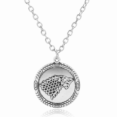 """Ancient Silver """"Game of Thrones"""" Stark Direwolf Charm Pendant Inspired Necklace"""