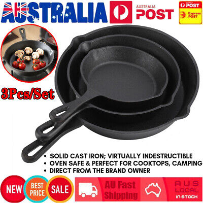 AU 3Pcs CAST IRON Non-Stick Frying Griddle Pan Barbecue Grill Fry BBQ Skillet