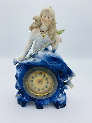 Antique Porcelain  China Case Shelf  Blue Mantle Hand Painted  Clock French