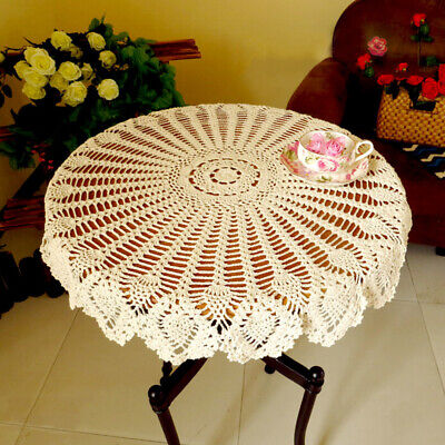 Vintage Tablecloth Hand Crochet Cotton Doily Round Lace Table Cloth Topper 35""