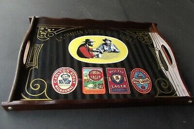 Vintage, Glass Mirrored, Aust. Beer Labels, Drink Tray