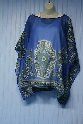unbranded blue with paisley print transparent poncho-like lightweight top 2X