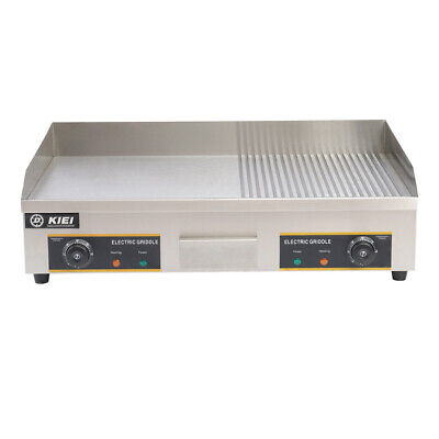 Electric Griddle Steel Large Flat/Grooved Hotplate BBQ Grill Counter Top 220V