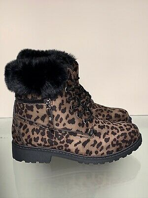 Womens/ Ladies Faux Fur Lined Hiking Boots Leopard Print Brown Size 5/ 38 NWB