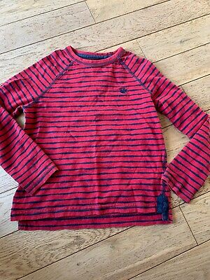 Fat Face Boys Age 6-7 Years Red & Black Long Sleeve Stripped Jumper Cotton
