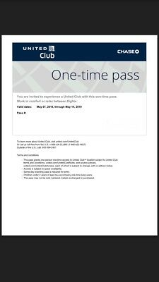 UNITED CLUB PASS 1 Pass E-Delivery Valid For Your Date Of Travel