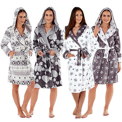 MASQ Womens Luxury Hooded Robes Ladies Super Soft Fleece Dressing Gowns