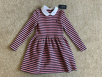 POLO Ralph Lauren Girls Pink and Blue Stripe Dress with Peter Pan Collar - Age 5