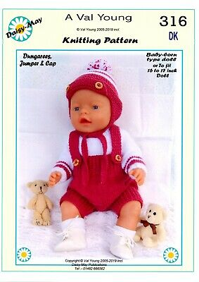 """DOLLS KNITTING PATTERN no 313 for 13/""""-14/""""1st Baby Annabell type doll Daisy-May."""