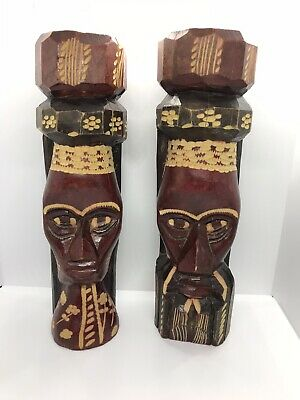 Lot of 2 Wooden Tiki Statues Hand Carved Sculpture Tribal High Detail Jamaica