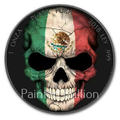 1oz 999 Silver Mexico Burning Libertad Colorized and Ruthenium plated coin