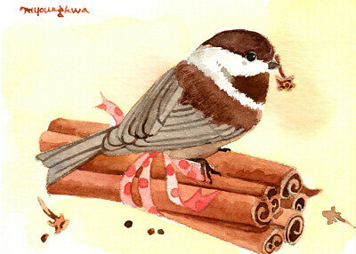 gift idea ACEO Limited Edition Chickadees Art card A gem of nature