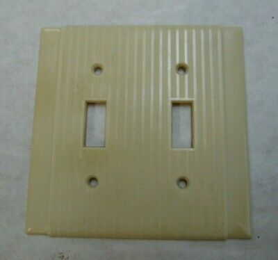Vintage Double (2 gang)  Switch Plate Bakelite? P&S / Uniline Ribbed & Striated
