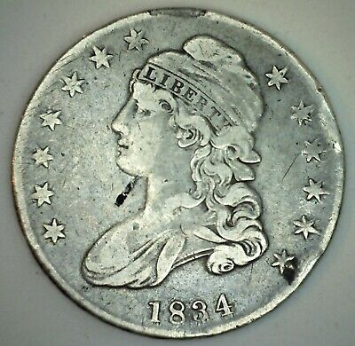 1834 Capped Bust Silver Fifty Cent Half Dollar Coin 50c US Type Coin Fine