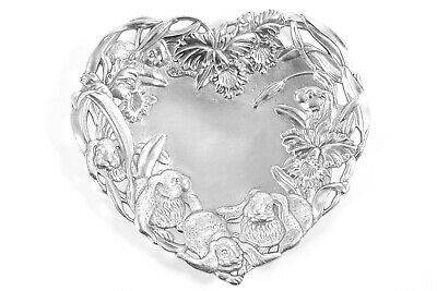 Signed Arthur Court Bunny Rabbit Daffodil Tray Dish Aluminum Heart Shaped 1995