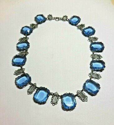 Antique Victorian Choker Necklace - Blue Glass Stones in Silvertone Mountings