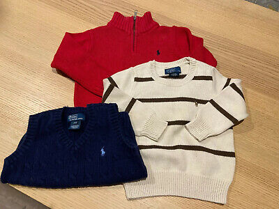 Polo By Ralph Lauren Toddlers Boys Sweaters And Sweater Vest 2T / 24m Lot Of 3