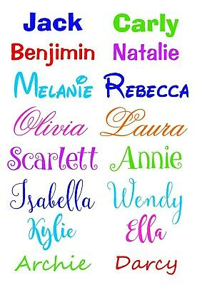 Personalised Vinyl Name 10cm wide - Iron on HTV / Stick on Adhesive transfers