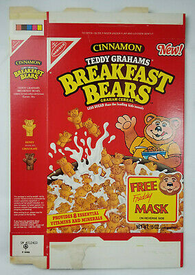 Nabisco Cinnamon Teddy Grahams 1989 Rare Breakfast Bears Cereal Empty Flattened