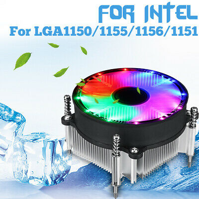 CPU Cooler RGB LED Silent Heatsink 90mm 3Pin For Intel LGA 1155/1151/1150/1366