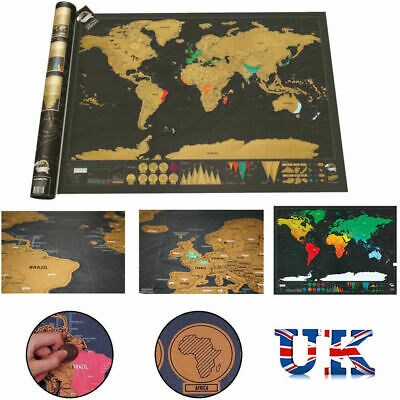 Small Scratch Off World Map Deluxe Edition Travel Journal Poster Wall Decor UK