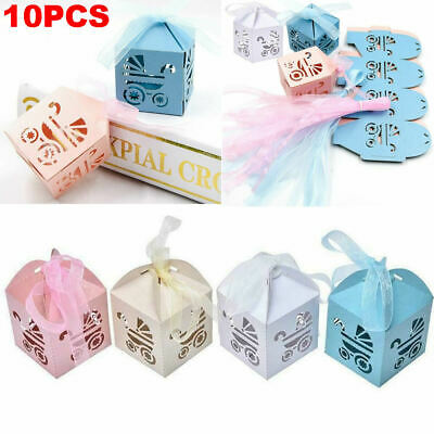 10PCS Laser Cut Carriage Gift Candy Boxes Christening Baby Shower Favor Boxes UK