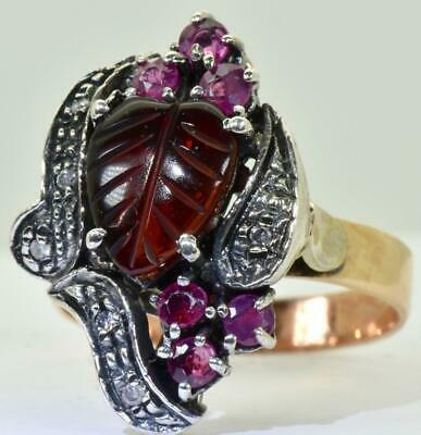 Astonishing Victorian silver-topped 9k Gold Ruby&Diamonds ring.One of a kind