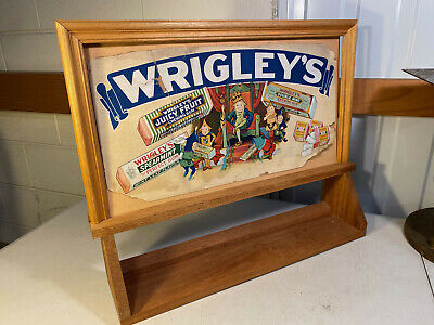 Vintage Australian Wrigley's Chewing Gum Display Advertising Sign Shelf Unit