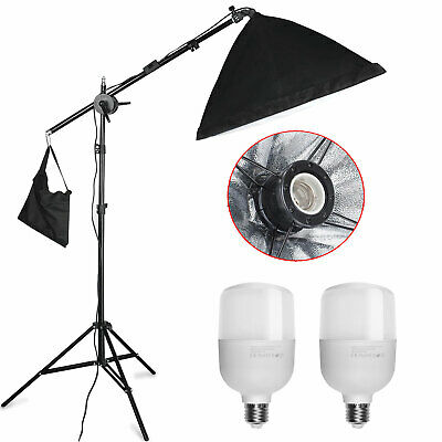 2x 25W LED Photography Studio Softbox Continuous Lighting Kit +Boom Arm Stand
