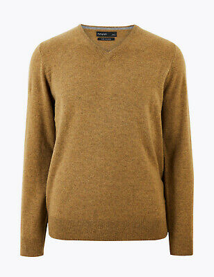 Marks And Spencer M&S Marks Pure Cashmere V-Neck Jumper Dark Yellow Xl Bnwt