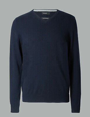 Marks And Spencer M&S Marks Pure Cashmere V-Neck Jumper M Midnight Navy Bnwt