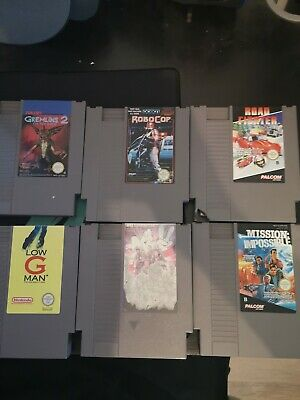 Lot 6 Jeu Nintendo Nes (gremlins, Ghostbusters, Robocop, Road Fighter...)