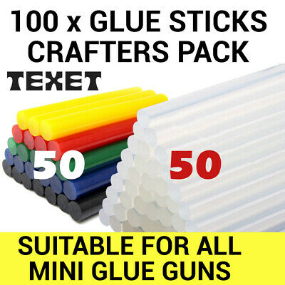 PACK TEXET CLEAR + COLOUR HOT MELT GLUE STICKS IDEAL FOR CRAFT HOBBY 100 x 7MM