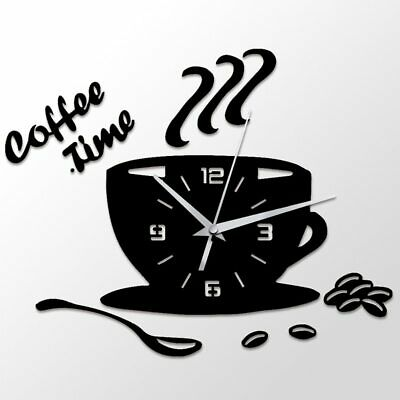 3D DIY Acrylic Wall Clock Modern for Kitchen Home Decor Coffee Time Clock Cup