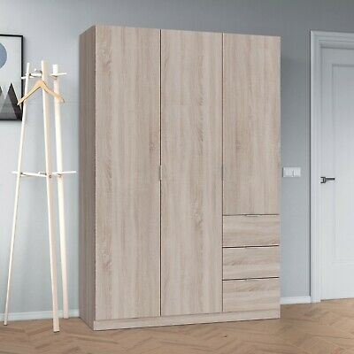 Modern LINA 3 Door 3 Drawer Combi Triple Wardrobe Light Oak Veneer Melamine
