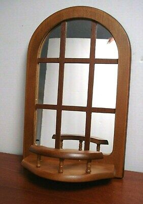 Vtg Wooden Knick-knack Wall Hanging Display Shelf w/ Mirror & plate holder